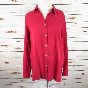 J. JILL Red Silk Button Shirt Roll Tab Sleeves